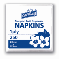 Napkins 1 Ply White Compact Fold Dispenser x 5000