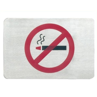No Smoking Sign Stainless Steel Wall Sign 12 x 8cm (Each)