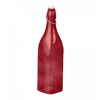 Glass Water Bottle Red 1L