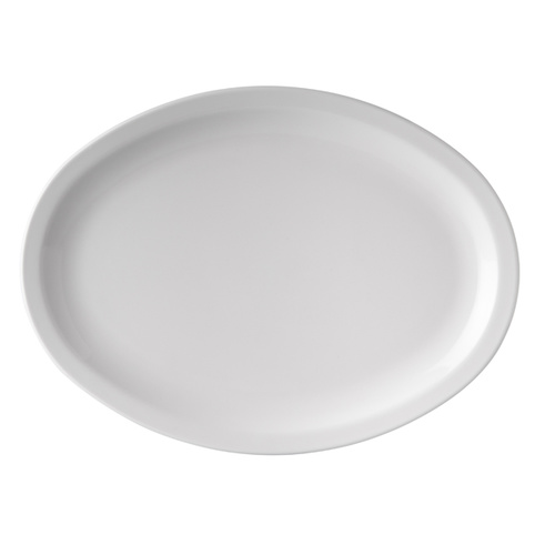 Oval Plate Narrow Rim Melamine White 335mm